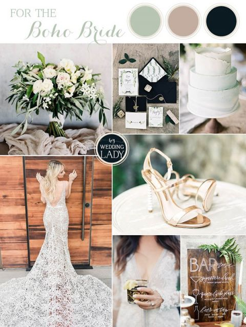 Black and White Bohemian Wedding Colors with Organic Greenery