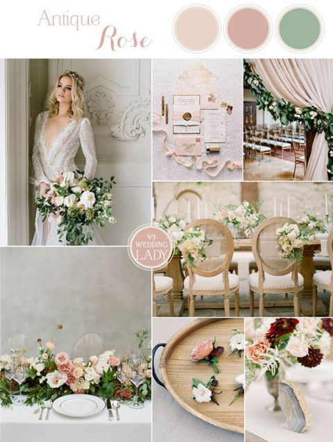 Romantic Nude Wedding Colors with Blush Flowers