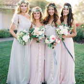 Elegant Pastel Bridesmaid Dresses with Mismatched Styles