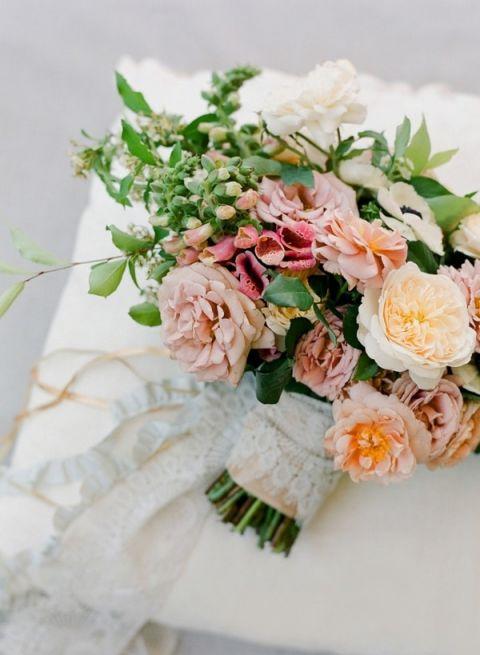 Peach and Mauve Summer Garden Bouquet