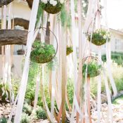 Silk Ribbon Ceremony Backdrop with Hanging Flowers