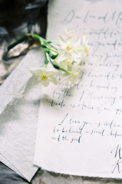 Hand Written Vows with Spring Flowers
