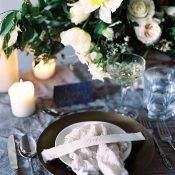 Blue and White Wedding Decor with Organic Silk and Spring Flowers