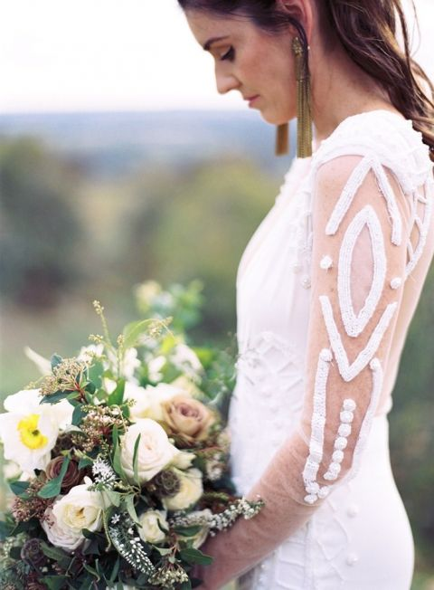 Sheer Wedding Dress with Beaded Geometric Patterned Sleeves