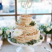 Naked Momofuku Wedding Cake with a Gold Monogram Topper