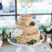 Naked Momofuku Wedding Cake with a Gold Monogram Topper