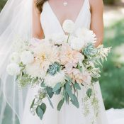 Blush and Greenery Bouquet with Succulents