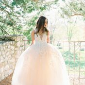 Pastel Peach Wedding Dress with Floral Details