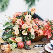 Colorful Spanish Centerpiece with Fruit and Metallics