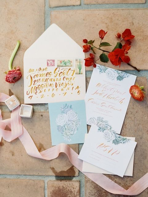 Colorful Hand Lettered Invitation Suite