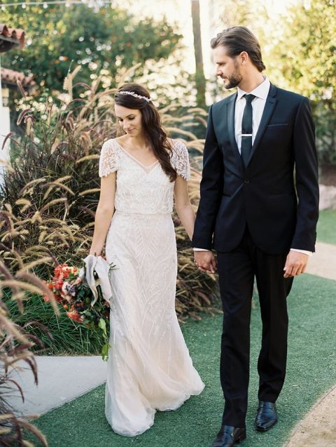 Vintage Beaded Wedding Dress For A Colorful Spanish