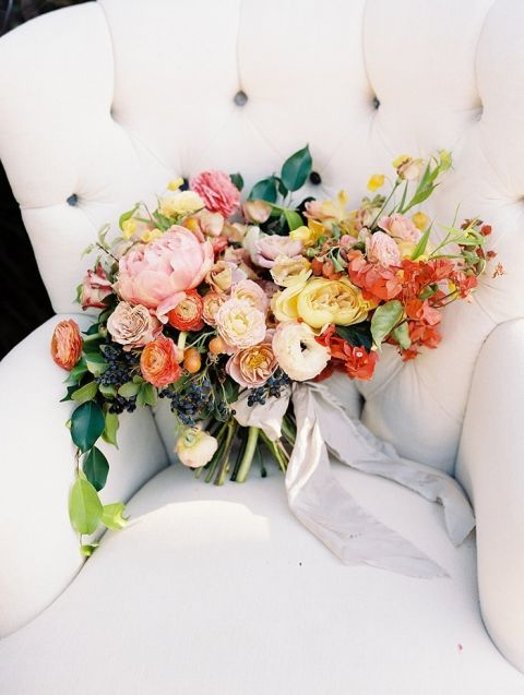 Colorful Spanish Inspired Bouquet in Coral and Gold