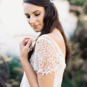Beaded Lace Wedding Dress with Vintage Cap Sleeves