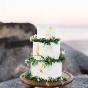 Greenery and Gold Leaf Adorned Wedding Cake