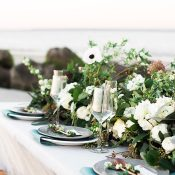 Greenery and Summer Flower Runner for an Intimate Beach Wedding