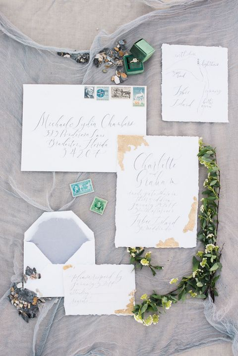 Hand Lettered Wedding Invitations with Gold Leaf