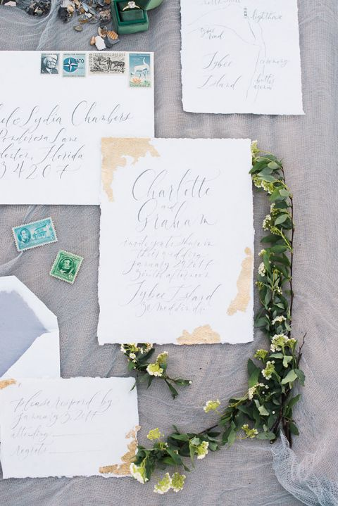 Elegant Invitation Suite Inspiration in Emerald Green and Gray