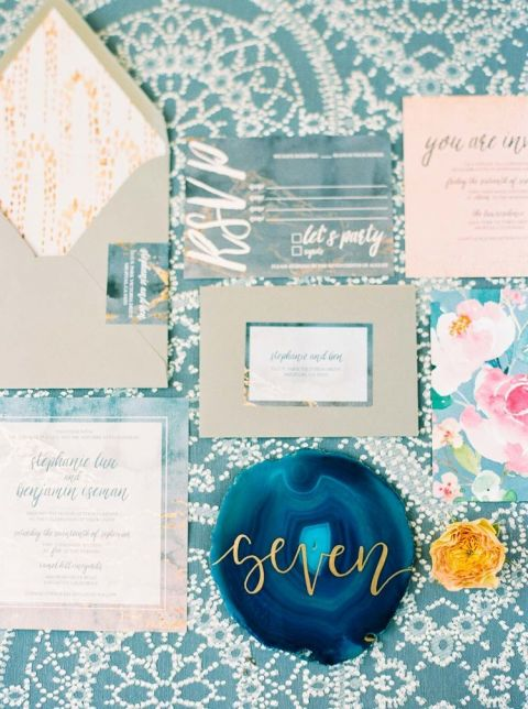 Floral Print and Ikat Patterns with Agate Wedding Decor