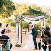 Elegant Vineyard Wedding Ceremony in Blue and Blush