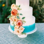 Floral Cascade Wedding Cake in Aqua and Peach