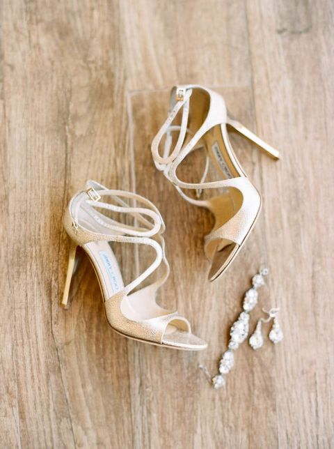 Gold Jimmy Choo Shoes with Crystal Bridal Jewelry