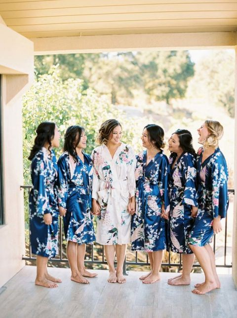 Floral Print Robes for the Bride and Bridesmaids
