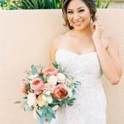 Coral and Aqua Bouquet for an Elegant Winery Wedding