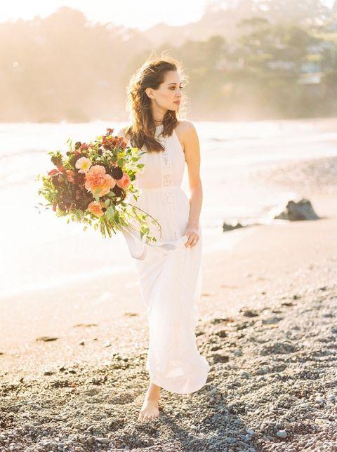 Graceful Beach Bridal Shoot at Sunrise