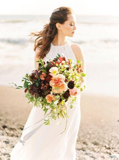 Peach and Burgundy Beach Bouquet