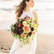 Peach and Burgundy Beach Bouquet
