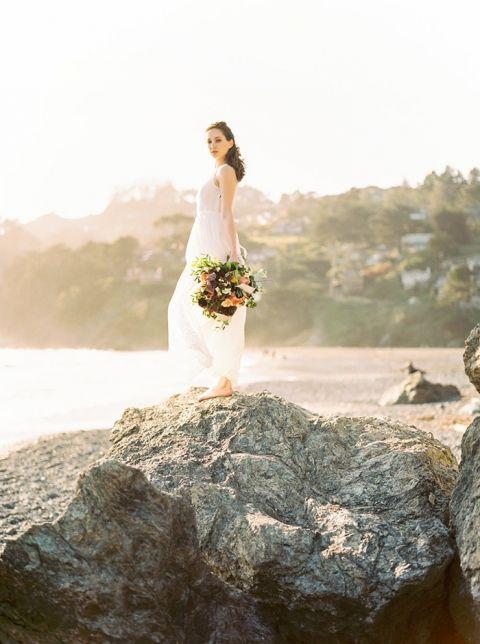 Coastal Sunshine Bridal Portraits at Muir Beach