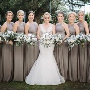Ivory Crystal Wedding Dress with Gray Bridesmaid Dresses
