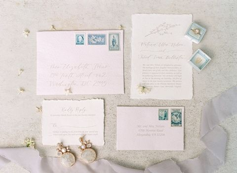 Blush and French Blue Wedding Invitations
