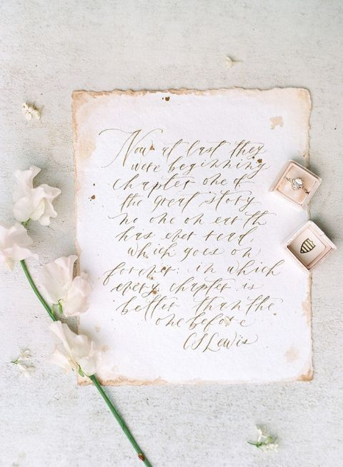 Hand Lettered Wedding Vows on Vintage Paper