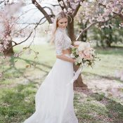 Lace and Chiffon Wedding Dress with a Crop Top and Bridal Separates