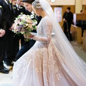 Fresh and Glam Cathedral Wedding with a Long Veil