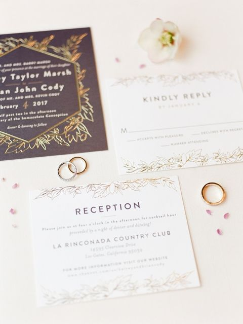 Elegant Gold Floral Print Wedding Invitations