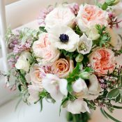Peach and Purple Spring Bridal Bouquet
