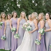 Lilac Gray and Amethyst Bridesmaid Dresses with a Purple Wedding Dress