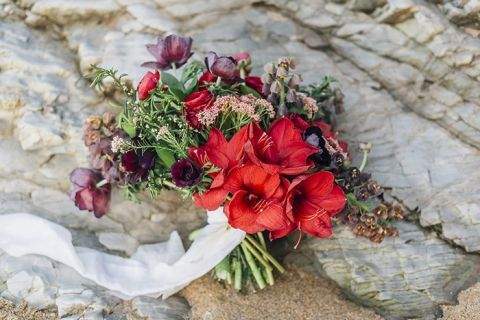 Vibrant Red Bohemian Beach Bouquet