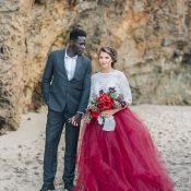 Dramatic Jewel Tone Beach Wedding with a Crimson Tulle Skirt