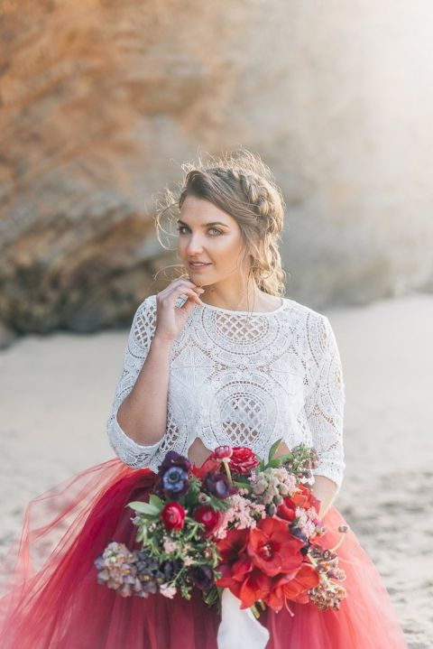 Crochet Lace and Red Tulle Skirt for a Bold Bohemian Wedding Look