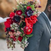 Summer Flowers in Red for a Boho Bridal Bouquet