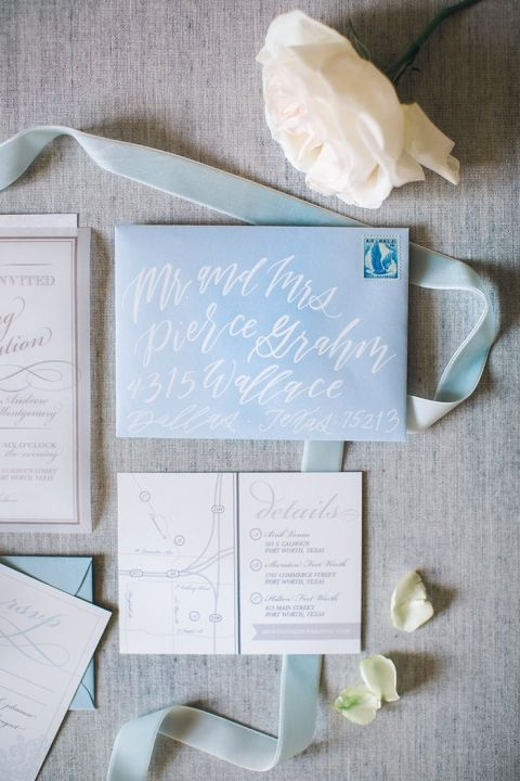 Hand Lettered Envelope for a Blue and White Wedding Invitation Suite
