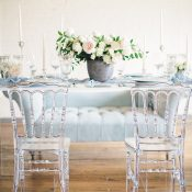 Lucite and Velvet Wedding Reception Inspiration in Blue and White