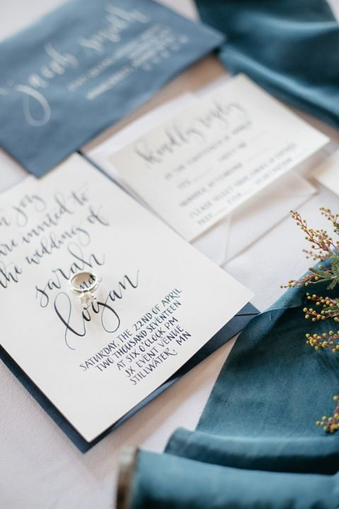 Raw Silk and Hand Lettered Invitations