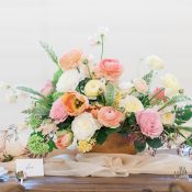 Hammered Copper Centerpiece with Peach and Yellow Summer Flowers