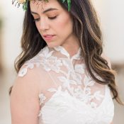 Sheer Illusion Lace Bridal Crop Top with a Flower Crown