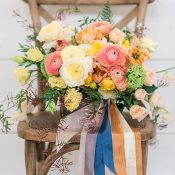 Colorful Summer Citrus Bouquet with Blue and Gold Ribbons