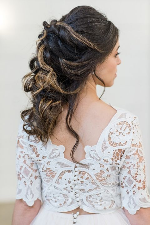 Loose and Romantic Bridal Hairstyle with a Lace Crop Top